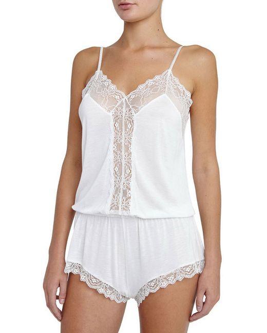 Eberjey Magnolia Lace-inset Teddy Romper in White ...