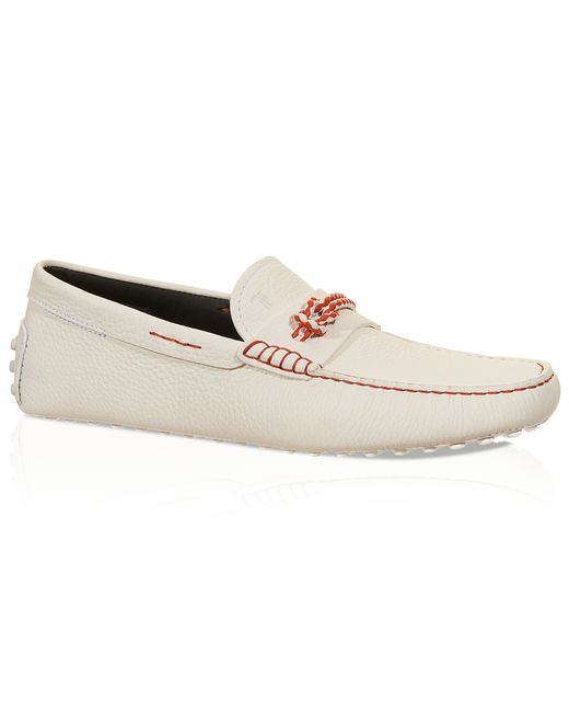 tod s gommino driving shoes in leather in white for