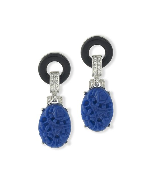 Kenneth Jay Lane | Blue Black And Lapis Art Deco Pierced Earring | Lyst