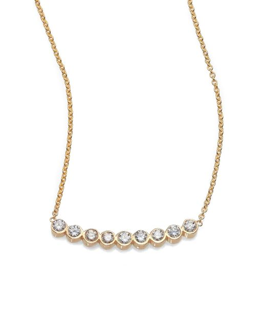 Zoe Chicco | Metallic Diamond & 14k Yellow Gold Curved Bezel Bar Necklace | Lyst