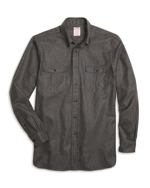 Brooks Brothers | Gray Regent Fit Saxxon Wool Sport Shirt for Men | Lyst