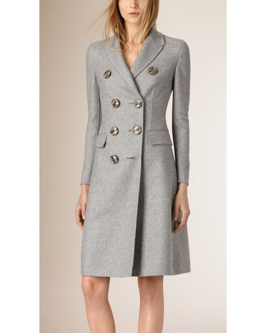 burberry tailored double breasted cashmere coat in gray. Black Bedroom Furniture Sets. Home Design Ideas