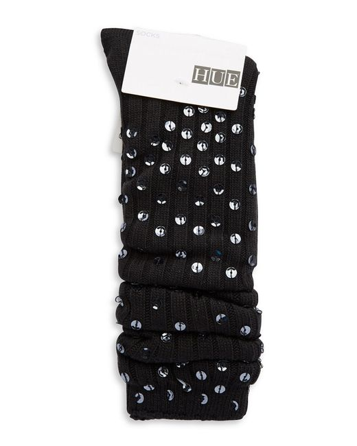 Hue | Black Sequined Slouch Socks | Lyst