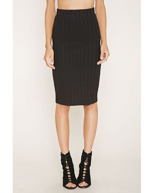 forever 21 ribbed pencil skirt in black lyst