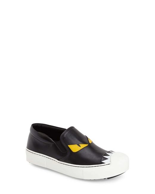 Fendi | Black Monster Leather Skate Sneakers | Lyst