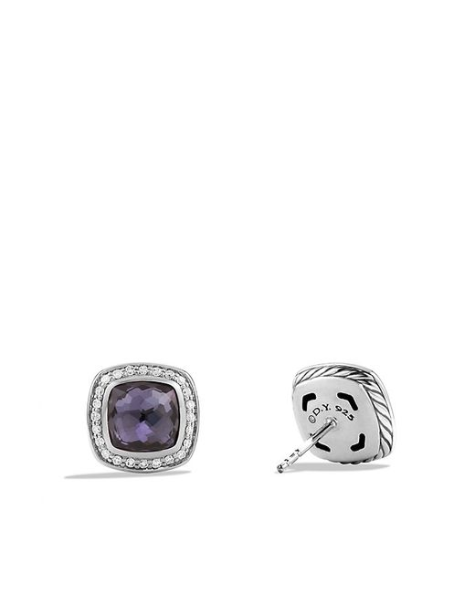 David Yurman | Albion Earrings With Black Orchid And Diamonds, 7mm | Lyst