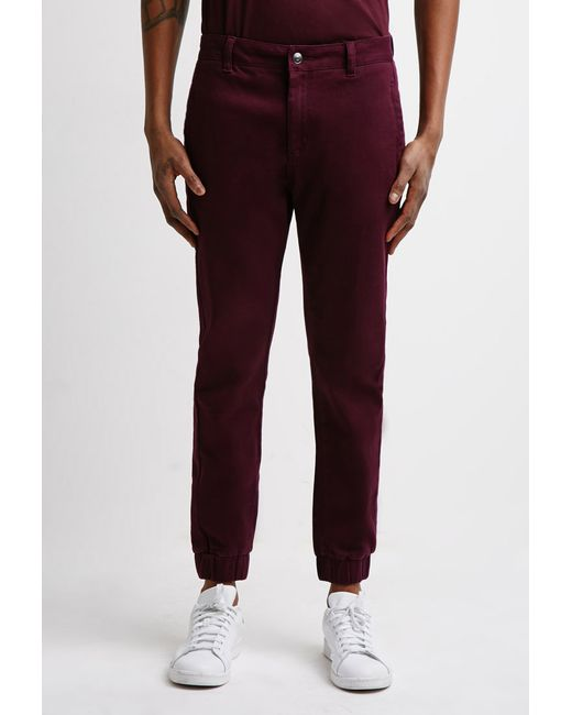 Forever 21 | Brown Garment-dyed Chino Joggers for Men | Lyst