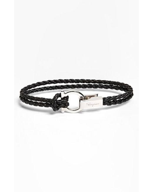 Ferragamo | Black 'trecc' Bracelet for Men | Lyst