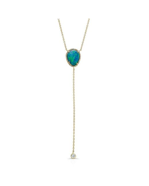 Anne Sisteron | Metallic 14kt Yellow Gold Opal Diamond Flirt Lariat Necklace | Lyst