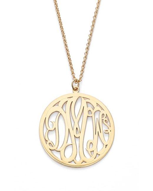 Argento Vivo | Metallic Personalized 3-letter Monogram Necklace | Lyst