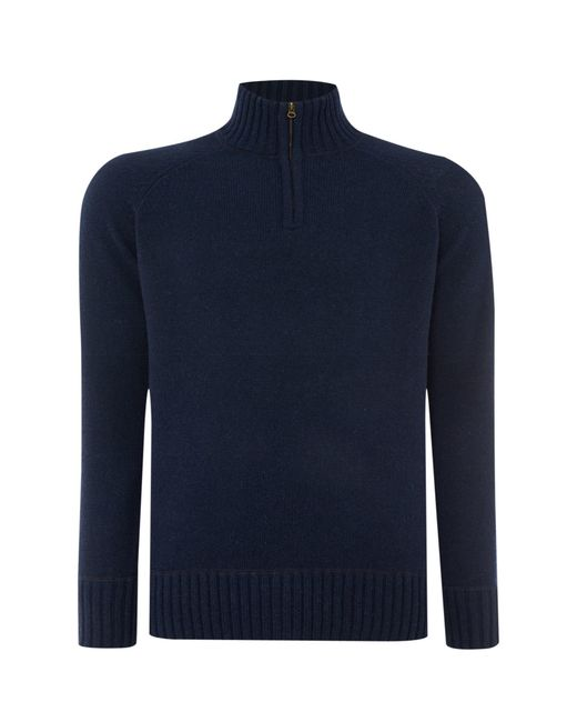 Howick | Blue Oakfield 100% Lambswool Funnel Neck for Men | Lyst