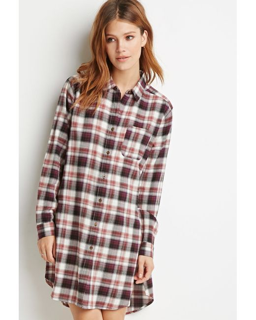 Forever 21 | Purple Contemporary High-slit Plaid Flannel Tunic | Lyst
