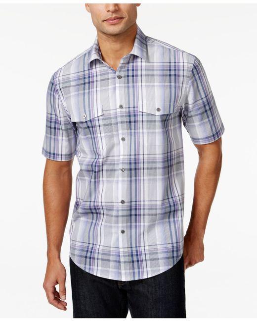 Alfani big and tall plaid short sleeve shirt in purple for for Big and tall purple dress shirts