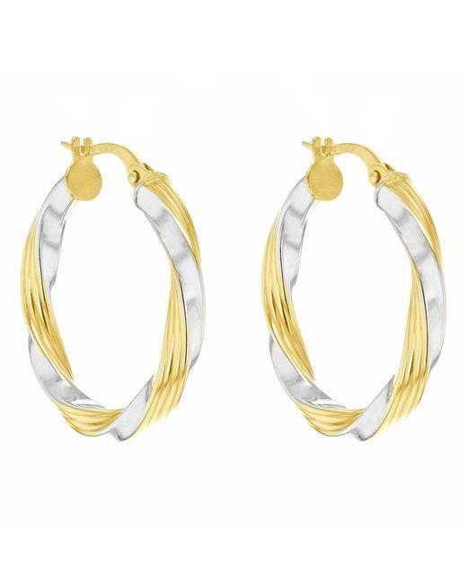 Ib&b   Metallic 9ct Gold Two Colour Creole Twist Earrings   Lyst