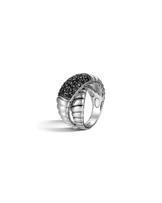John Hardy Women S Bedeg Silver Lava Crossover Ring With