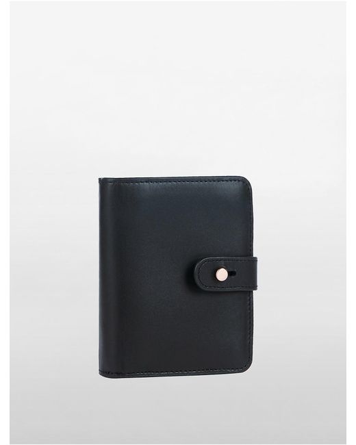 Calvin Klein | Black Leather Small Foldover Wallet | Lyst