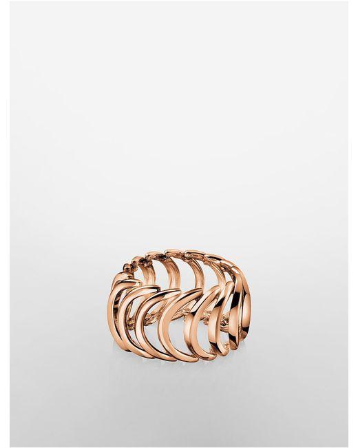 Calvin Klein - Pink Platinum Body Rose Gold Ring - Lyst