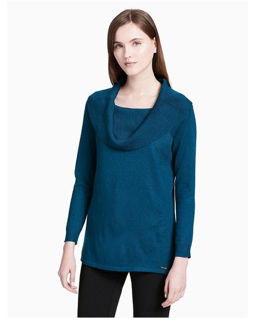 Calvin Klein | Blue Cowl Neck Pullover Sweater | Lyst