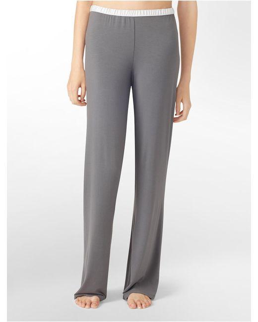 Calvin Klein   Gray Underwear Essentials Satin Trim Lounge Pants   Lyst