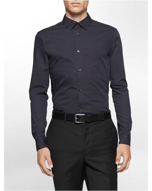 Calvin Klein | Black Classic Fit Non-iron Ministripe Cotton Shirt for Men | Lyst