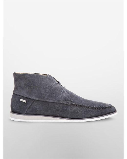 calvin klein kenley suede chukka boot in gray for lyst