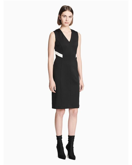 7f63b568 Calvin Klein - Black Colorblock V-neck Sleeveless Dress - Lyst ...