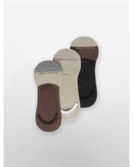 Calvin Klein   Natural Underwear 3 Pack Colorblock No-show Shoe Liners   Lyst