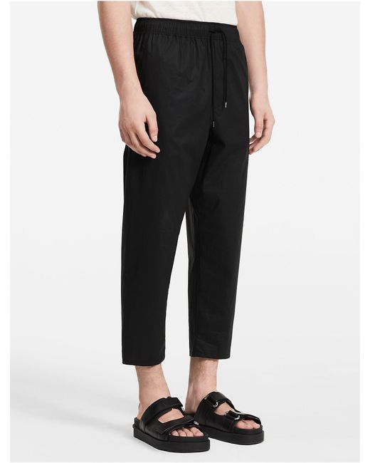 Calvin Klein | Black Platinum Platinum Cotton Poplin Elasticated Pants | Lyst