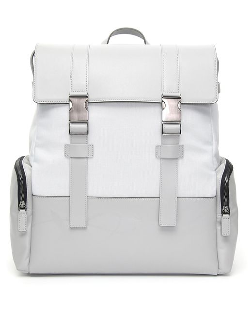Canali - Light Gray Leather And Fabric Backpack With Two Straps for Men - Lyst