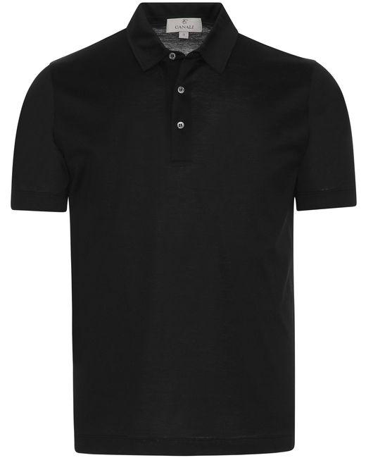 Canali - Black Mercerized Cotton Jersey Polo Shirt for Men - Lyst