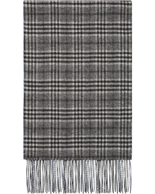Canali - Gray Silk And Cashmere Reversible Scarf With Prince Of Wales Check for Men - Lyst