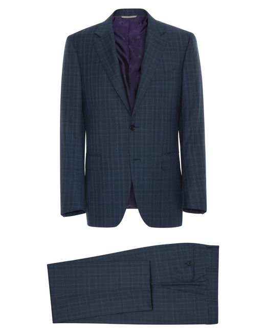Canali Blue Super 170s Wool Prince Of Wales Siena Suit With Top Construction for men