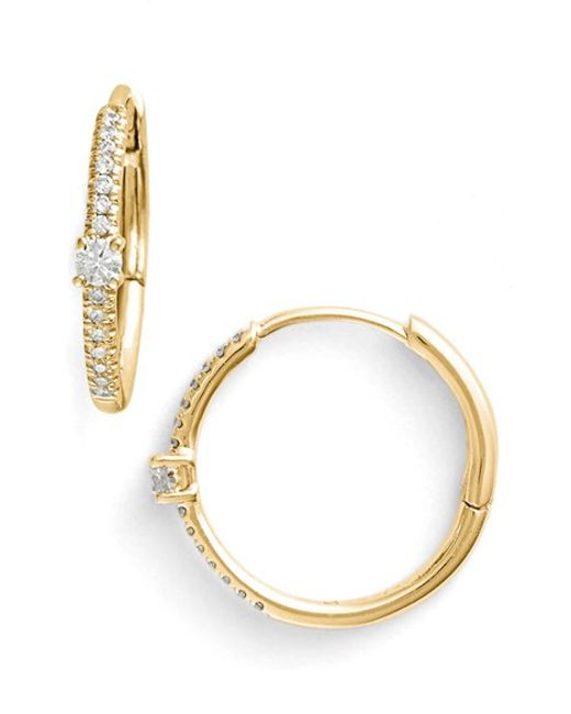 Bony Levy | Metallic Diamond Small Hoop Earrings (limited Edition) (nordstrom Online Exclusive) | Lyst