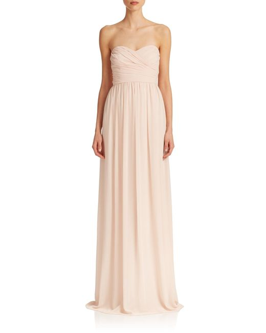Monique Lhuillier Bridesmaids | Pink Pleated Chiffon Sweetheart Gown | Lyst