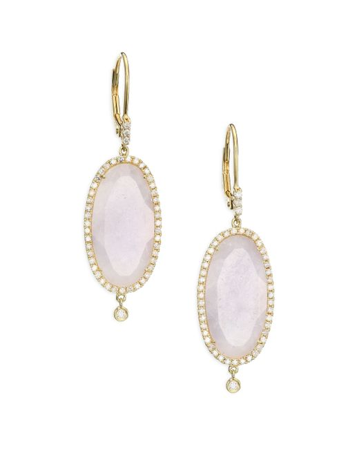 Meira T | Purple Jade, Diamond & 14k Yellow Gold Drop Earrings | Lyst