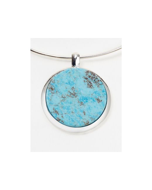 Robert Lee Morris | Blue Disc Pendant Collar Necklace, 18"
