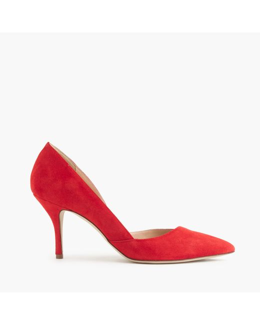 J.Crew | Red Colette Suede D'orsay Pumps | Lyst