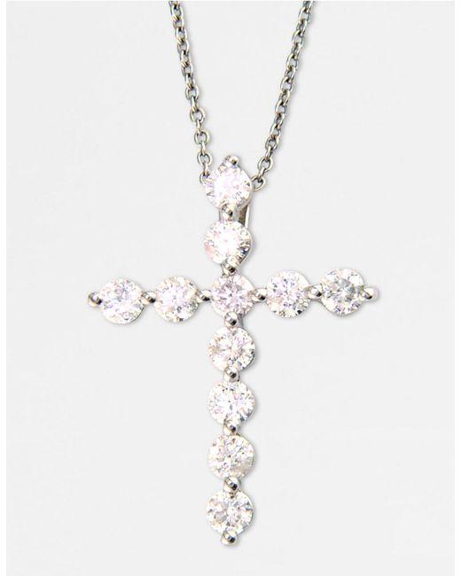 Effy | Classique 14k White Gold Diamond Cross Pendant Necklace | Lyst