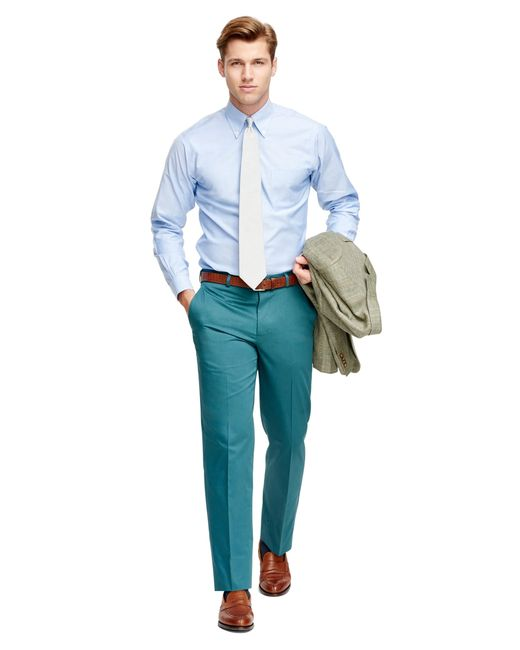 Brooks Brothers | Blue Fitzgerald Fit Plain-front Cotton Dress Trousers for Men | Lyst