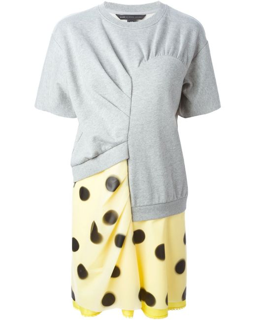 Marc By Marc Jacobs | Yellow Blurred Dot Panelled Dress | Lyst