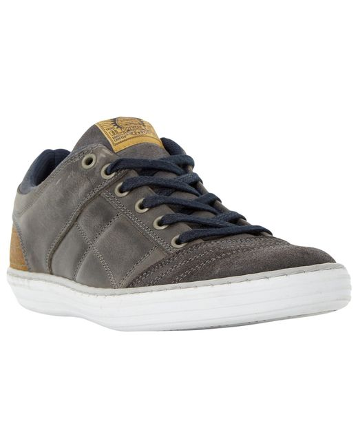 Dune   Gray Temper Leather Trainers for Men   Lyst