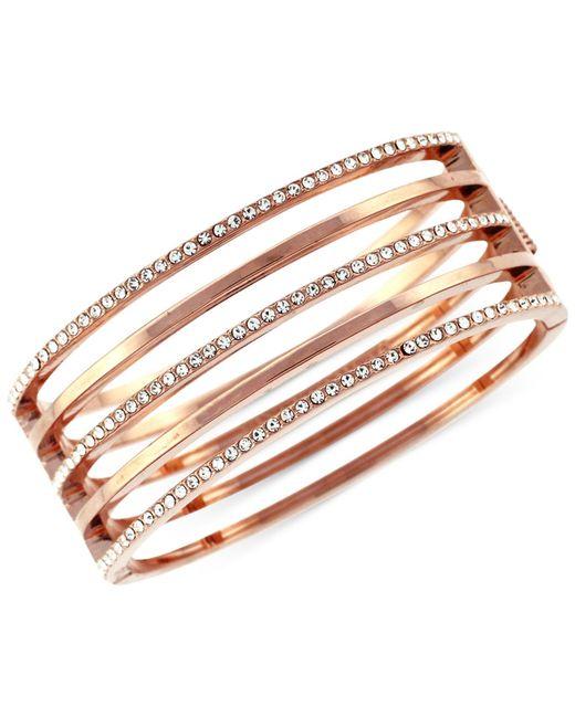 Vince Camuto | Pink Rose Goldtone And Crystal Stacked Bangle Bracelet | Lyst
