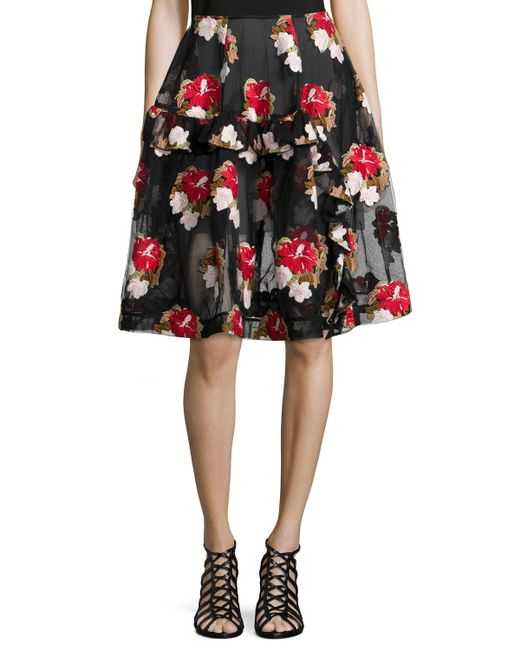 Simone Rocha | Floral-embroidered Asymmetric Ruffle Skirt | Lyst