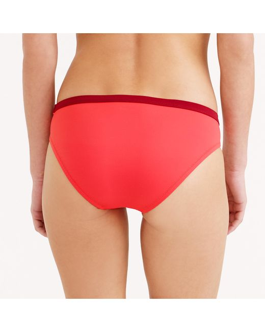 J.Crew | Red Colorblock Low Hipster Bikini Bottom | Lyst
