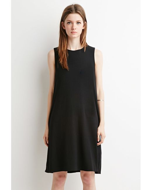 Forever 21 | Black Padded-shoulders Trapeze Dress | Lyst