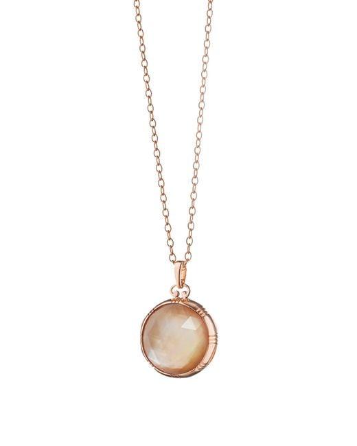 Monica Rich Kosann   Pink Rose Gold Cognac Mother-of-pearl Petite Locket Necklace   Lyst