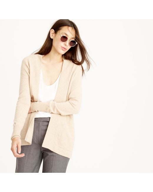 J.Crew | Natural Italian Cashmere Long Open Cardigan Sweater | Lyst