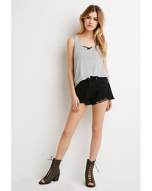 Forever 21 | Gray Boxy Ribbed Knit Tank | Lyst
