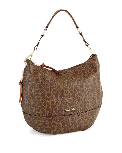 Calvin Klein | Brown Hudson Monogram Hobo Bag | Lyst