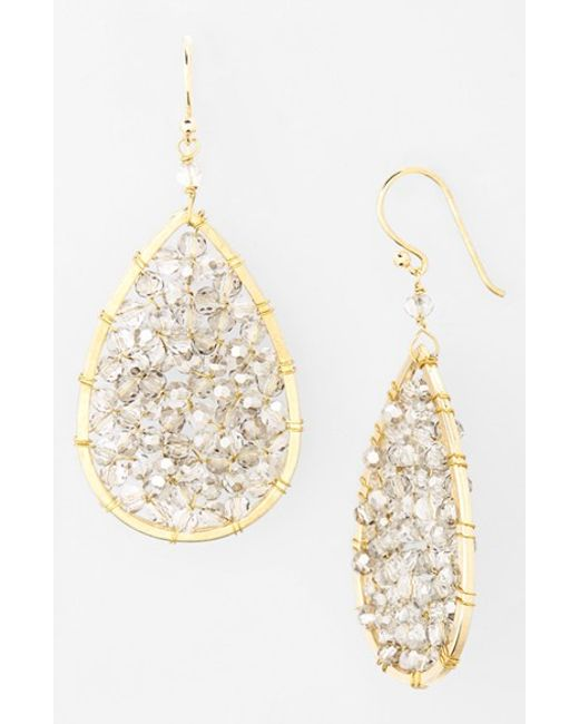Panacea | Metallic Smoky Crystal Teardrop Earrings | Lyst